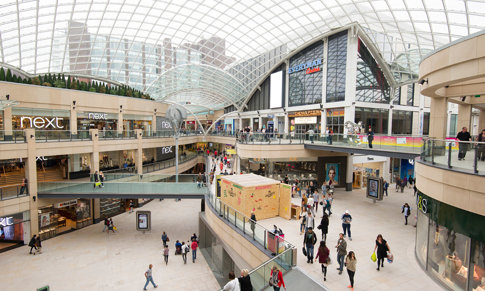 Trinity Leeds promotional space with Crabbies experiential activity