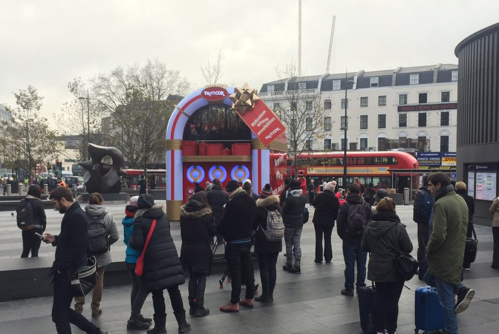TK Maxx experiential promotion for Christmas at King's Cross Train Station