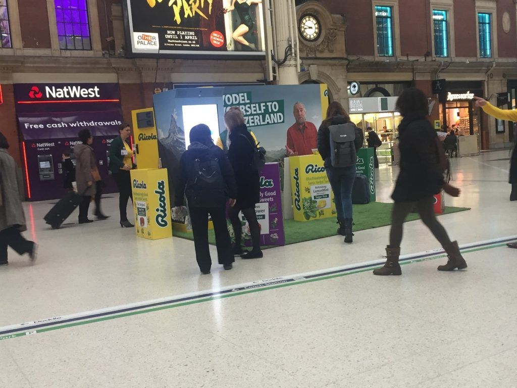 Ricola experiential activity at Victoria Train Station