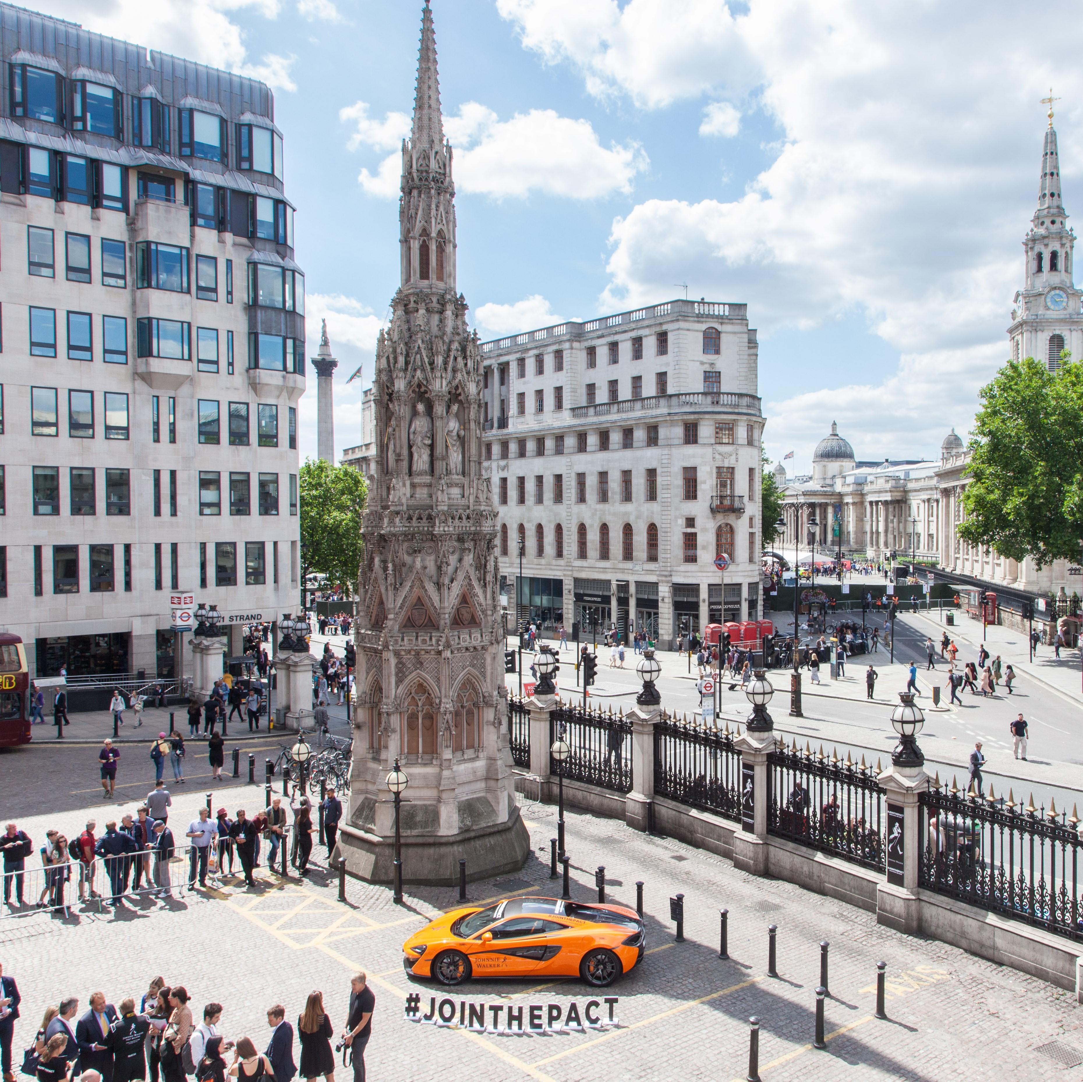 charing cross plaza hosts f1 mclaren car spaceandpeople plc