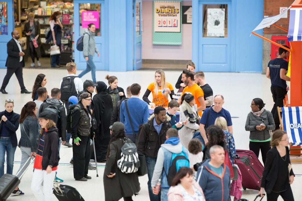 Orangina Sampling Activity at London Victoria Station