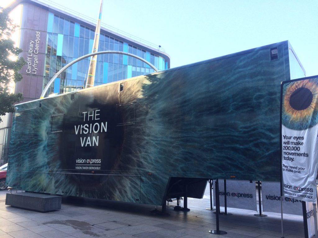 The Vision Express VIsion Van at St Davids Shopping Centre, Cardiff