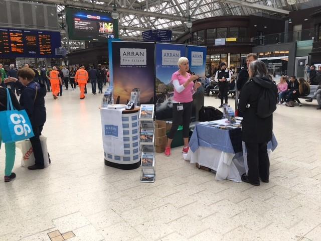 Visit Arran promoting at Glasgow Central Train Station