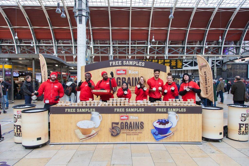 Muller Rice 5 Grains Sampling at Paddington Station