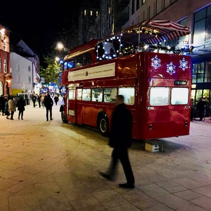 Truly Scrumptious Bus outside St David's Cardiff