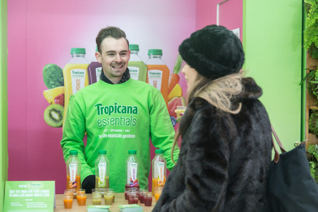 Tropicana Essentials sampling activity at Waterloo Station