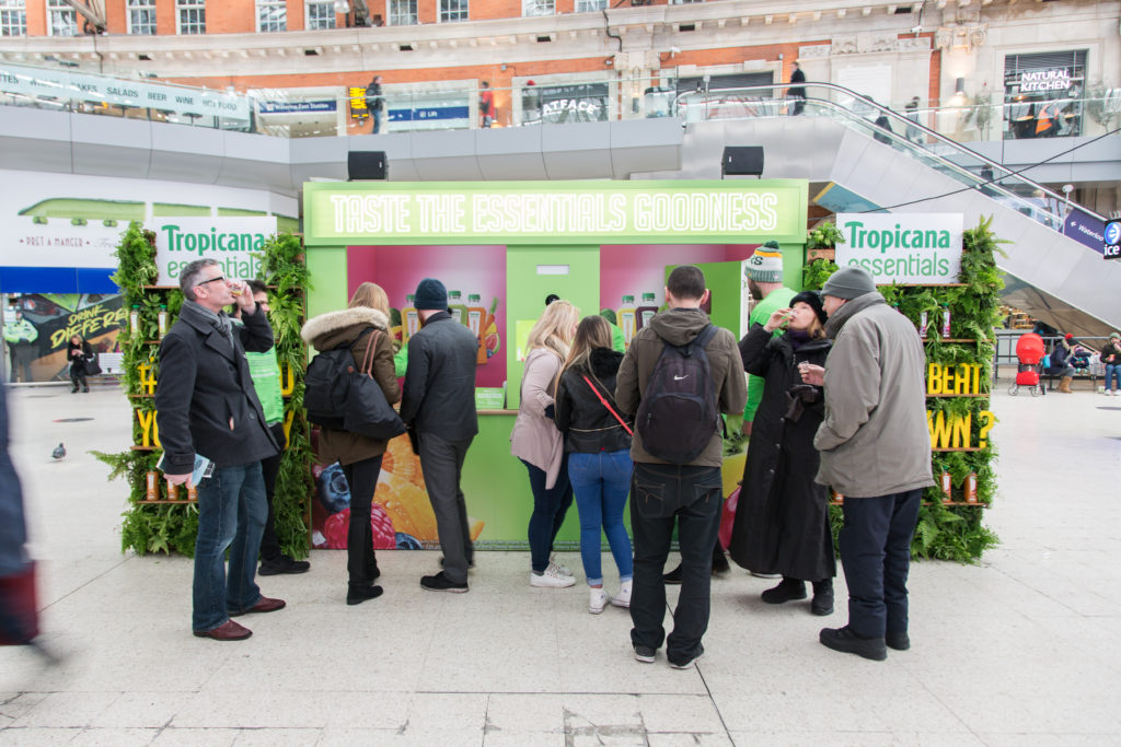 Tropicana Essentials experiential stand with sampling activity at Waterloo Station