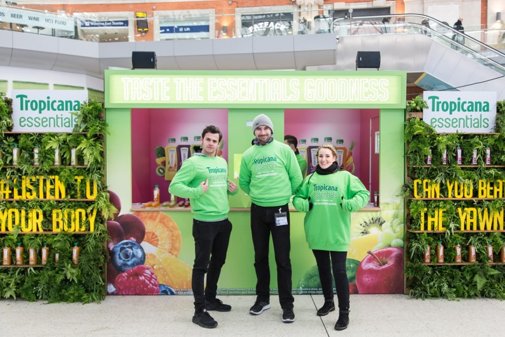 Tropicana Essentials Experiential Stand at Waterloo