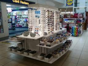 Maharjans sunglasses shop on a POP Retail mobile kiosk at West 12 Shopping Centre.