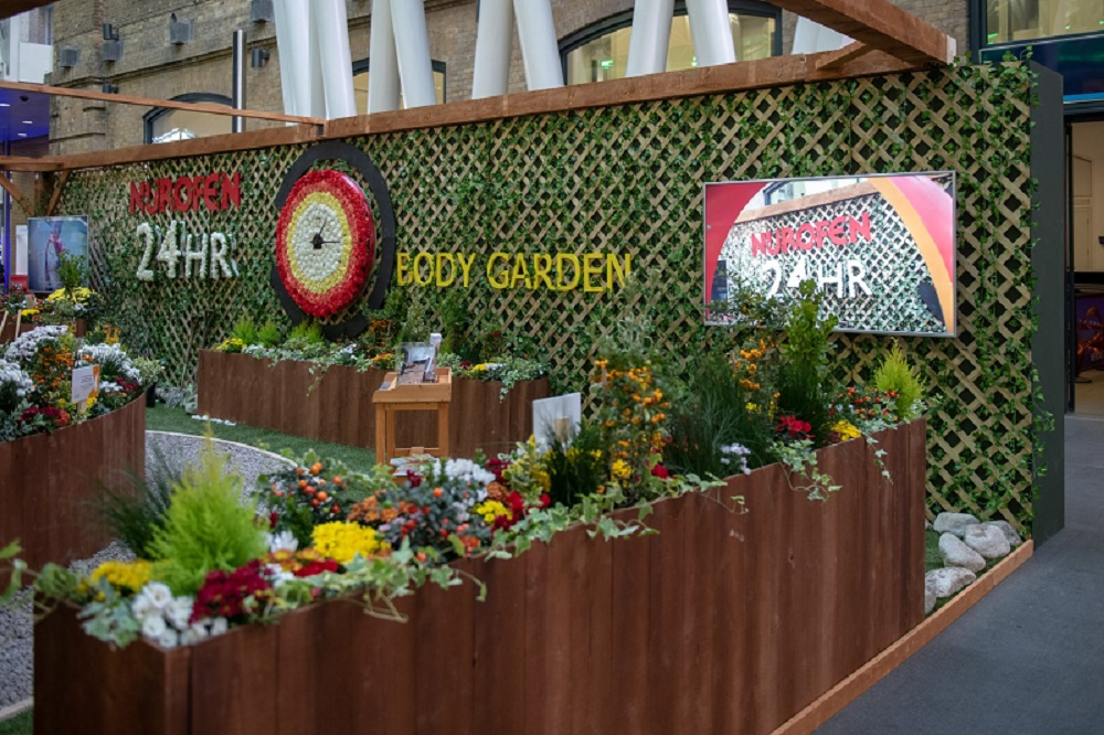 Nurofen Know More Pain Body Garden experiential activation at London King's Cross Station