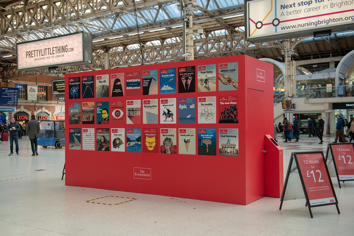 Examples of The Economist magazines at the Network Rail advertising space.