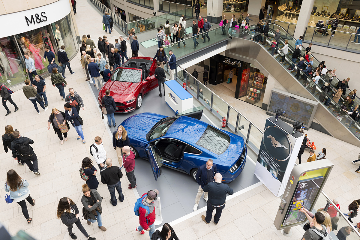 Automotive Promotion by Mustang in Trinity Leeds Shopping Centre
