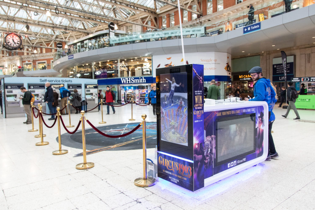 SpaceandPeople Mobile Promotions Kiosk as part of Circus 1903 promotion at London Waterloo Station