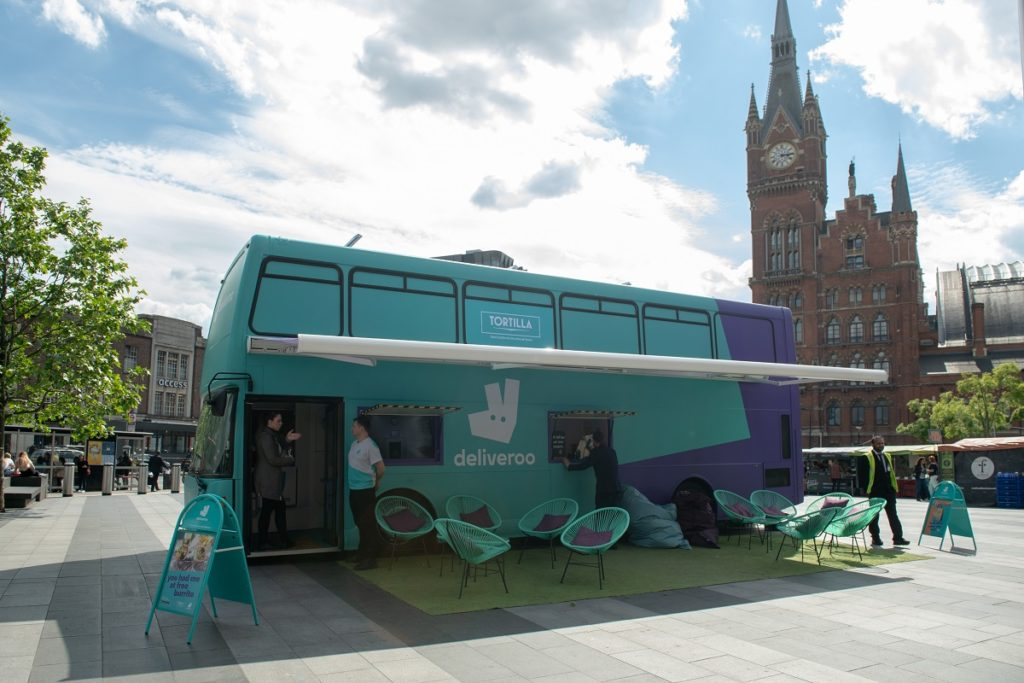 Deliveroo on External Promotional Space King's Cross Station in 2019