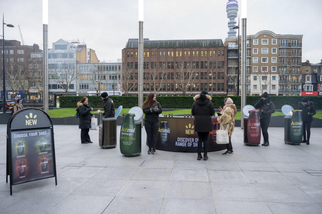 Actimel sampling activation in Regents Place