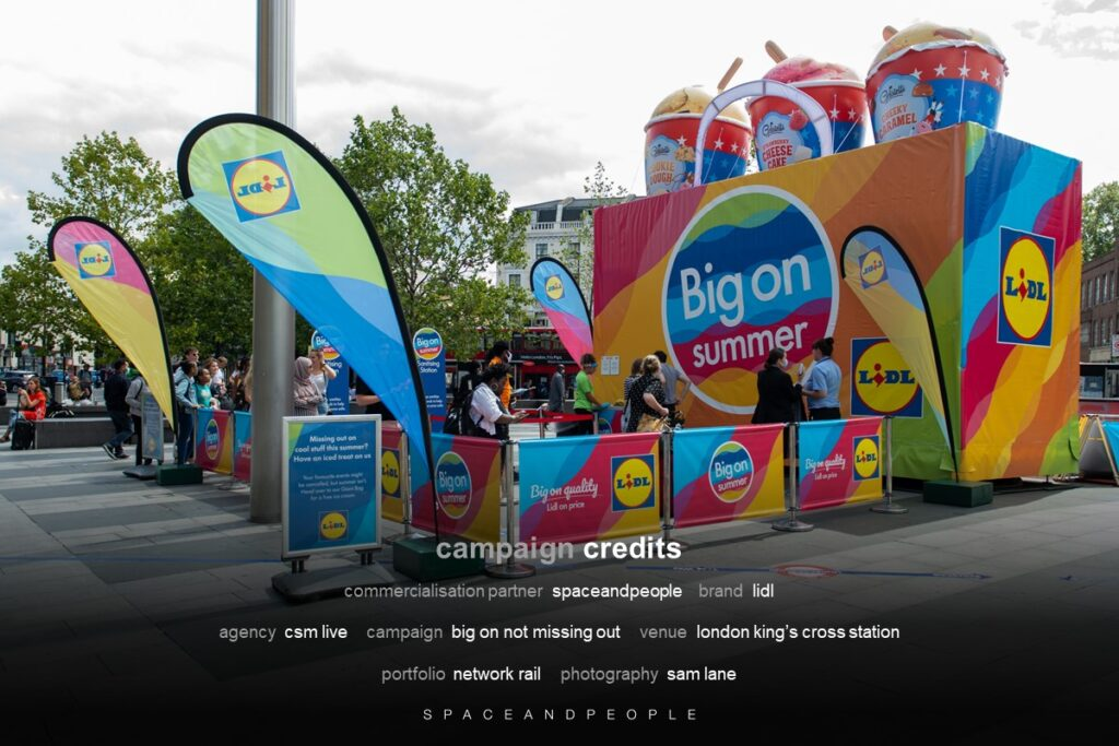 """Lidl sampling """"Big on not missing out"""" campaign at London King's Cross Station"""